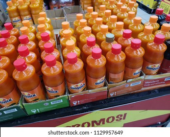 Senawang, Malaysia - 28 June 2018 :Top view a Sunquick syrup bottle display for sell on the shelf in supermarket