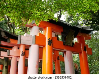 Senbon Torii at Fushimi Inari Shrine (Japan: Kyoto).Torii is the gate of a shrine. It is written as Votive in the torii.