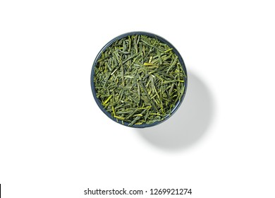 Sencha green tea in round bowl isolated on white background,view directly from above.