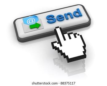 Send e mail button with computer hand cursor