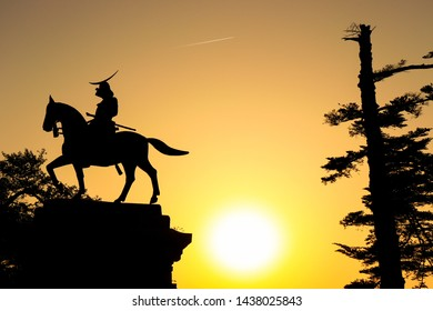 Sendai city Aoba castle Date Masamune equestrian statue, Miyagi Prefecture, Japan