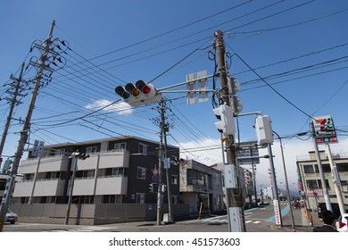 SENDAI, JAPAN - 15 APRIL 2016 : Traffic lights at Ogawara station on April 15, 2016, Sendai, Japan. Ogawara station for travelers Sakura Festival on April.