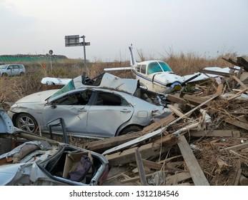 Sendai, Japan, April 07, 2011.  Disaster Zone After Great Japan Tsunami In March 2011. Sendai Airport Area