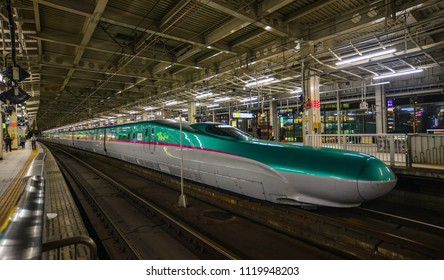 Sendai, Japan - Oct 3, 2017. A Shinkansen train at station in Sendai, Japan. Japan has one of the most developed railway networks in the world.