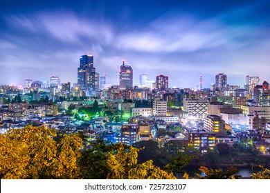 Sendai, Miyagi, Japan cityscape at night