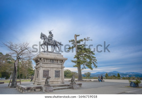 Sendai, Miyagi, Japan - Nov 07 , 2019 - A statue of Date Masamune on horseback entering Sendai Castle in Aobayama Park, Sendai.