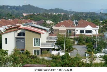 SENDAYAN, MALAYSIA -JANUARY 26, 2017: Facade of two story luxury terrace house  in Sendayan, Malaysia.