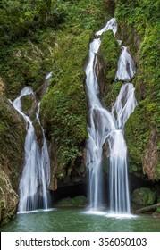 Sendero Vegas Grande waterfall. Waterfall in a lush rainforest. Vegas grande waterfall in Topes de Collante, Trinidad, Cuba