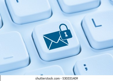 Sending encrypted E-Mail protection secure mail internet symbol blue computer keyboard