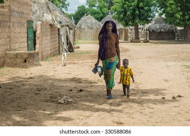 Senegal - August 19: The daily routines of a young Senegalese woman from the villages of the eastern part of Senegal. August 19,2015 in a rural areas of Senegal