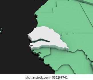 senegal map 3D illustration