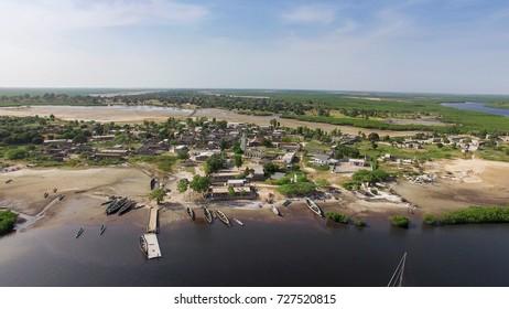 Senegal village in Sinesaloum - sky view
