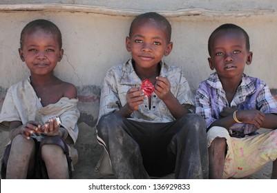SENETO CULTURAL BOMA, NCA/TANZANIA-CIRCA FEBRUARY 2013: portrait of unidentified Masai children. Circa February 2013 in Seneto Cultural Boma. Masai are pastoralist people of east Africa.
