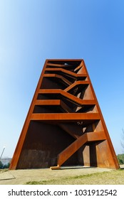 SENFTENBERG, GERMANY - FEBRUARY 07, 2018: Attractions near the lake Sedlitzer See and Sornoer Canal - Rostiger Nagel (Rusty nail). The construction uses COR-TEN steel.