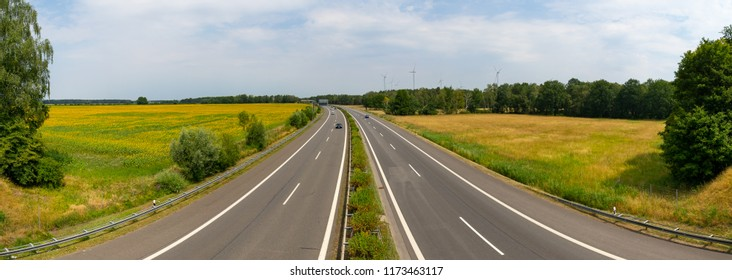 SENFTENBERG, GERMANY - JULY 05, 2018: Panoramic view on Bundesautobahn 13 (federal highway) is an autobahn in eastern Germany, connecting Berlin with Dresden.