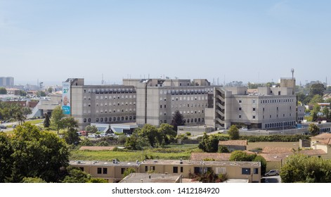 Senhora da Hora, Matosinhos, Portugal - May 24, 2019: Urban landscape, view of Pedro Hispano hospital, Senhora da Hora
