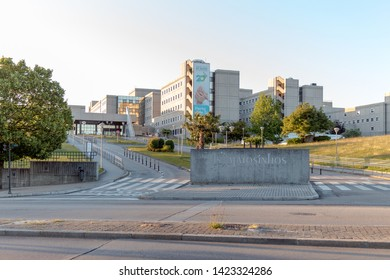 Senhora da Hora, Matosinhos, Portugal - June 11, 2019: Urban landscape, view of Pedro Hispano Hospital, Senhora da Hora