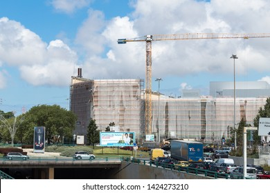 Senhora da Hora, Matosinhos, Portugal - June 14, 2019: Exterior view of the expansion works of the Norteshopping shopping center.