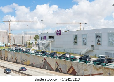 Senhora da Hora, Matosinhos, Portugal - June 14, 2019: Facade of Kinda Home commercial space and expansion works of Norteshopping shopping center