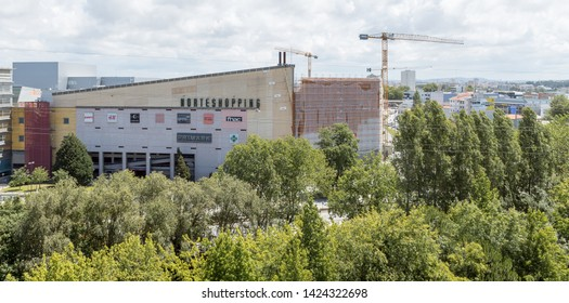 Senhora da Hora, Matosinhos, Portugal - June 14, 2019: Norteshopping, exterior view of the expansion works of the Norteshopping shopping center