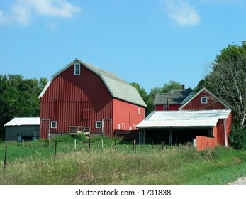 Senic old red barn and house
