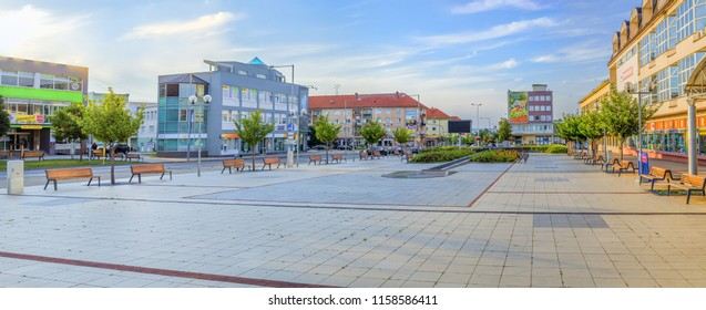 SENICA, SLOVAKIA - JUNE 22, 2018: Main square in Senica. Paved main plaza in famous slovak city, situated in Trnava region, western Slovakia. located in the north-eastern part of the Záhorie lowland.