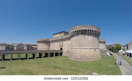 Senigallia, Ancona/Italy-05/02/2015: The Fortress of Senigallia, or Rocca Roveresca, built by the Della Rovere family, is located in Senigallia, in the Marche region, in the province of Ancona