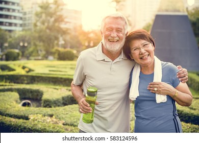 Senior Adult Couple Exercise Fitness Strength