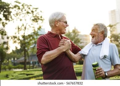 Senior Adult Friendship Exercise Fitness Strength