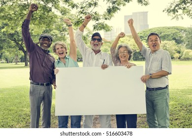 Senior Adult Friendship Togetherness Banner Placard Copy Space Concept