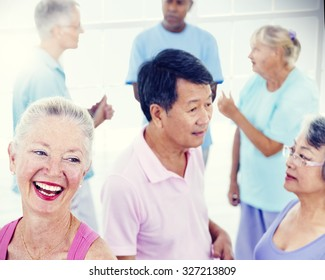 Senior Adult Healthy People Fitness Training Concept