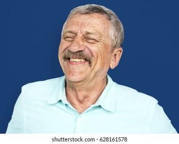 Senior Adult Man Face Smile Expression Studio Portrait