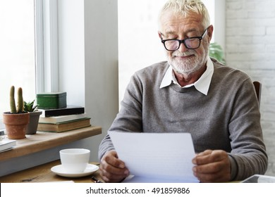 Senior Adult Reading Letter Postcard Concept