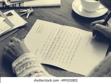 Senior Adult Writing Letter Penpal Concpet