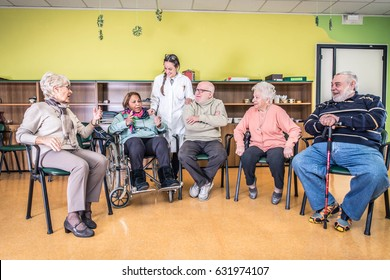 Senior adults in a nursing home for the elderly