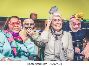 Senior adults in a nursing home for the elderly having fun