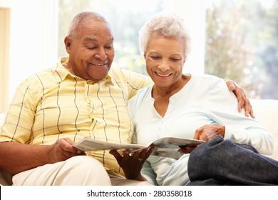 Senior African American couple reading
