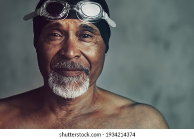 Senior African American swimmer, active at old age
