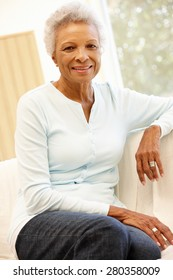 Senior African American woman at home