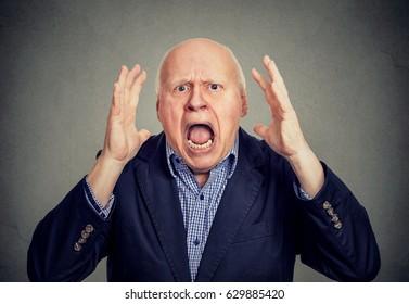 Senior angry man screaming