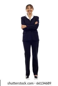Senior Asian business woman smiling , full length portrait isolated on white