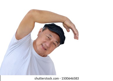 Senior asian man doing physical exercise isolated on white background. Healthcare concept. Clipping path included.