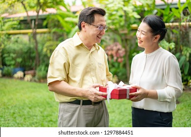 Senior Asian man showing red present box with white ribbon outdoor.Two Asian senior couple giving red present box on holiday occasion.