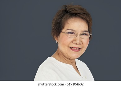 Senior Asian Woman Casual Studio Portrait Concept