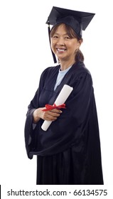 Senior Asian woman with graduation cap and gown holding diploma isolated over white