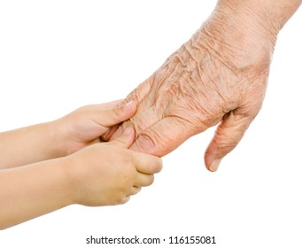 Senior and baby holding hands. isolated on white background