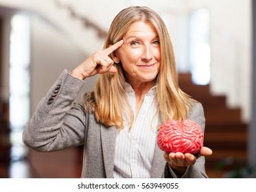 senior beautiful woman with a brain