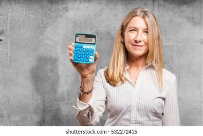senior beautiful woman with calculator