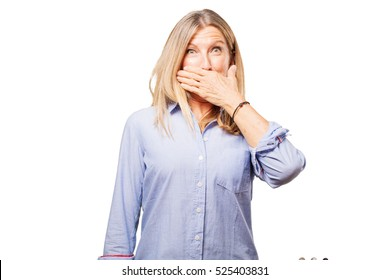 senior beautiful woman covering mouth