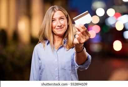 senior beautiful woman with credit card